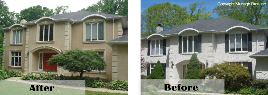 Brick exterior remodeling before and after
