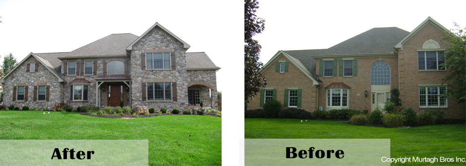 before and after of exterior home remodeling job on mainline
