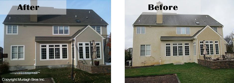 Stucco repair before and after