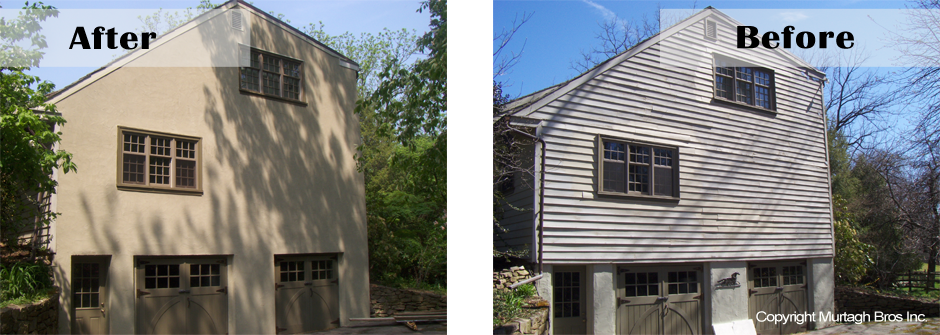 Stucco finish from wood paneling in Bala Cynwyd, PA